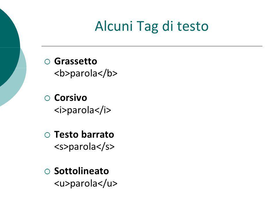Alcuni Tag di testo Grassetto <b>parola</b> Corsivo