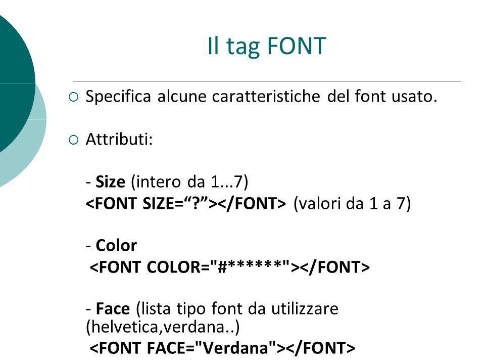 Il tag FONT Specifica alcune caratteristiche del font usato.