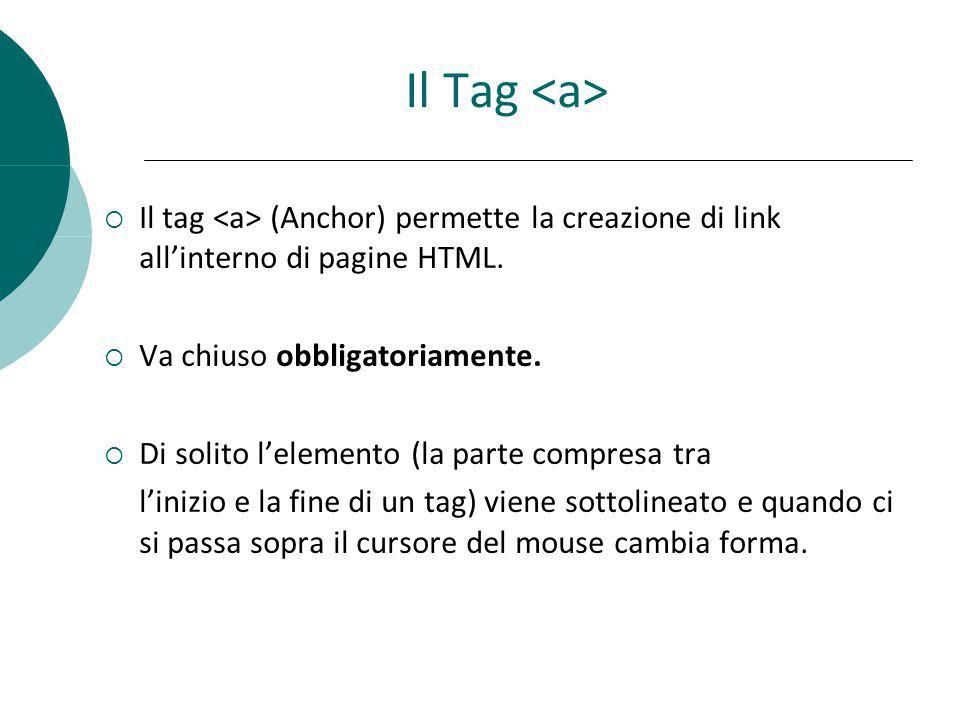 Il Tag <a> Il tag <a> (Anchor) permette la creazione di link all'interno di pagine HTML. Va chiuso obbligatoriamente.