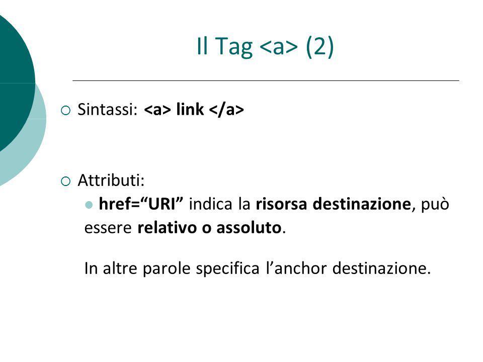 Il Tag <a> (2) Sintassi: <a> link </a> Attributi: