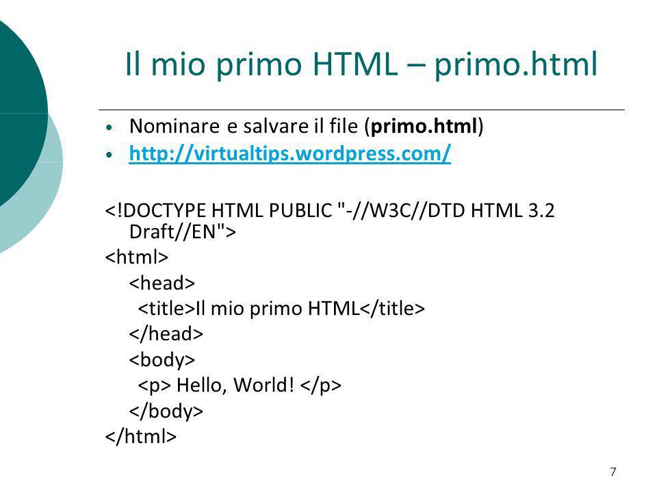 Il mio primo HTML – primo.html