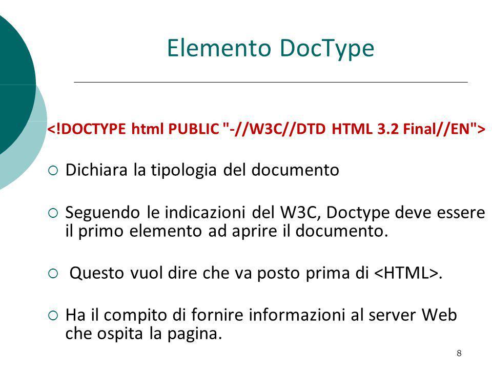 Elemento DocType Dichiara la tipologia del documento