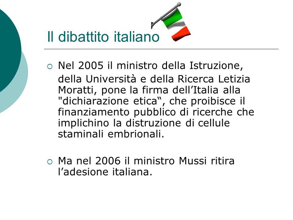 Il dibattito italiano Nel 2005 il ministro della Istruzione,