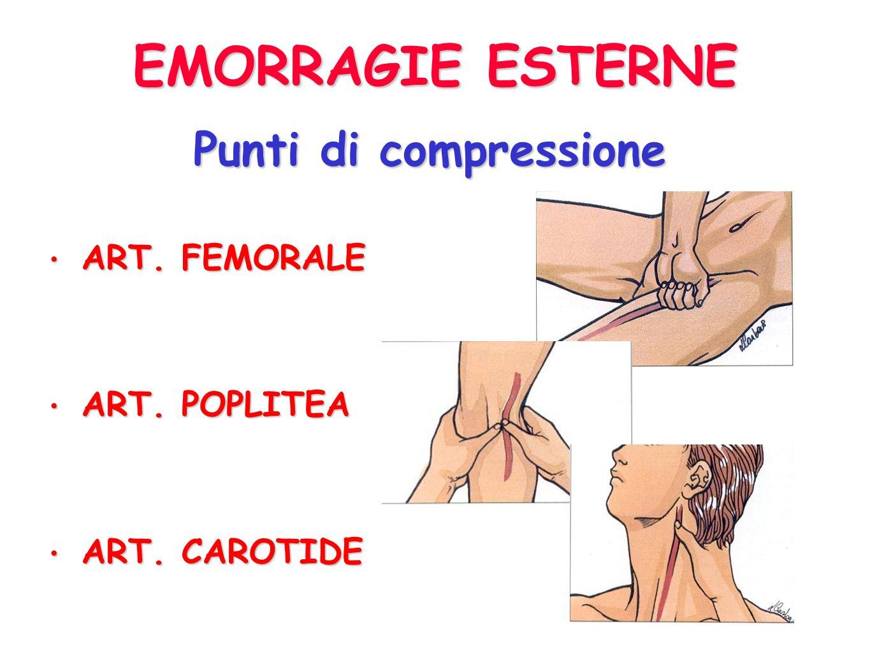 EMORRAGIE ESTERNE Punti di compressione ART. FEMORALE ART. POPLITEA