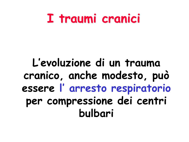 I traumi cranici L'evoluzione di un trauma cranico, anche modesto, può essere l' arresto respiratorio per compressione dei centri bulbari.