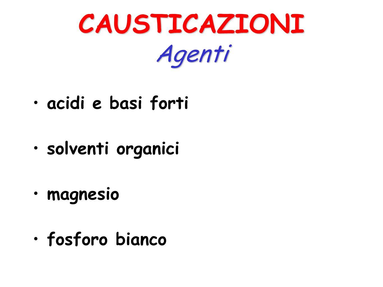 CAUSTICAZIONI Agenti acidi e basi forti solventi organici magnesio