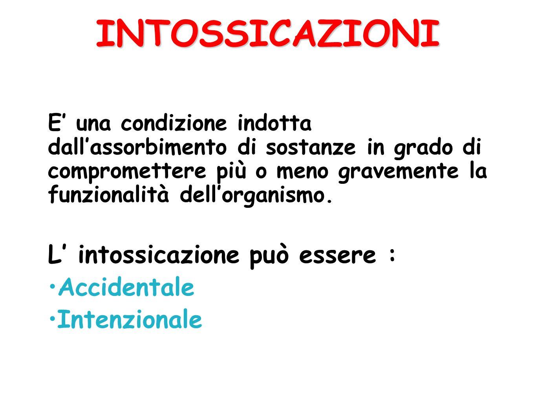 INTOSSICAZIONI L' intossicazione può essere : Accidentale Intenzionale