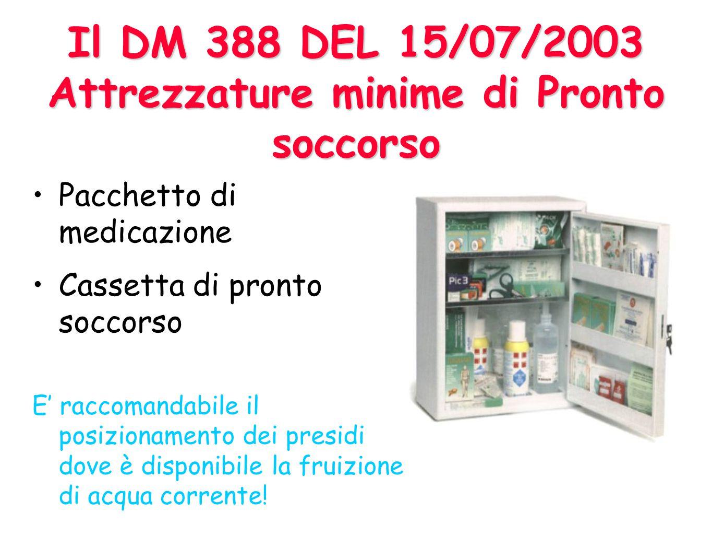 Il DM 388 DEL 15/07/2003 Attrezzature minime di Pronto soccorso