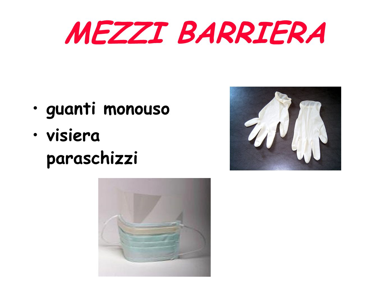 MEZZI BARRIERA guanti monouso visiera paraschizzi
