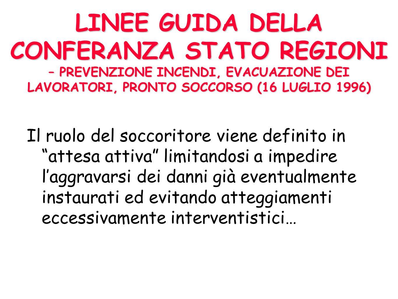 LINEE GUIDA DELLA CONFERANZA STATO REGIONI – PREVENZIONE INCENDI, EVACUAZIONE DEI LAVORATORI, PRONTO SOCCORSO (16 LUGLIO 1996)