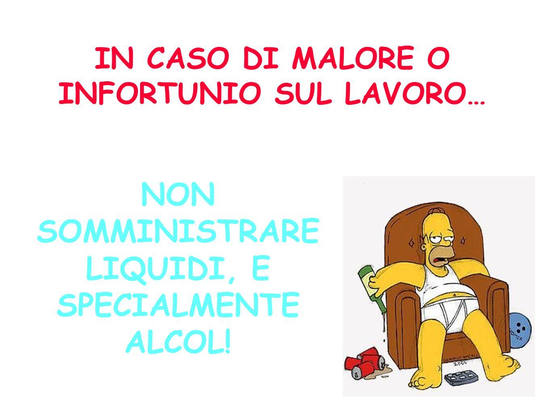 NON SOMMINISTRARE LIQUIDI, E SPECIALMENTE ALCOL!