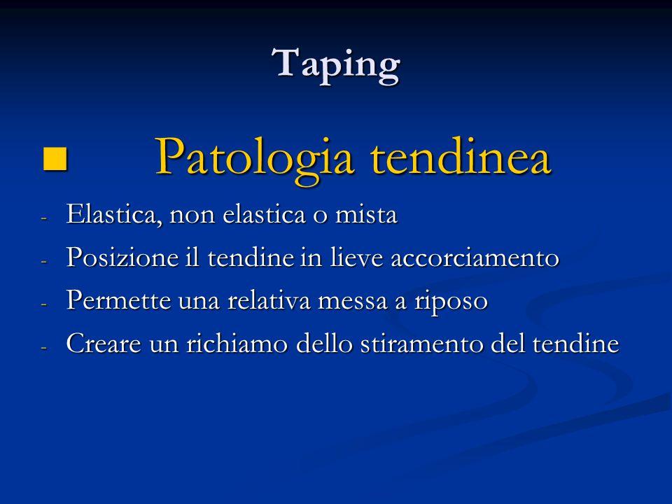 Patologia tendinea Taping Elastica, non elastica o mista