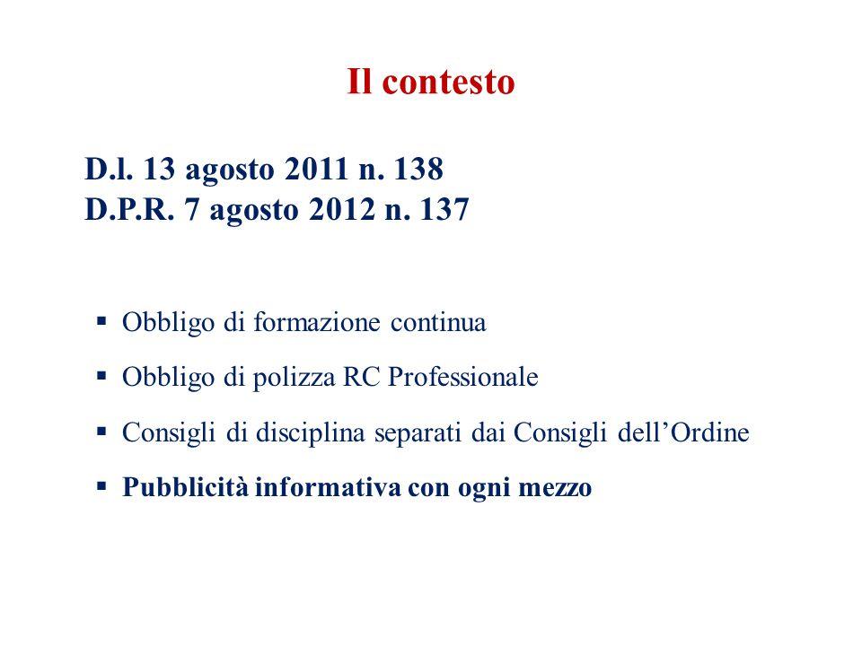 Il contesto D.P.R. 7 agosto 2012 n. 137 Obbligo di formazione continua