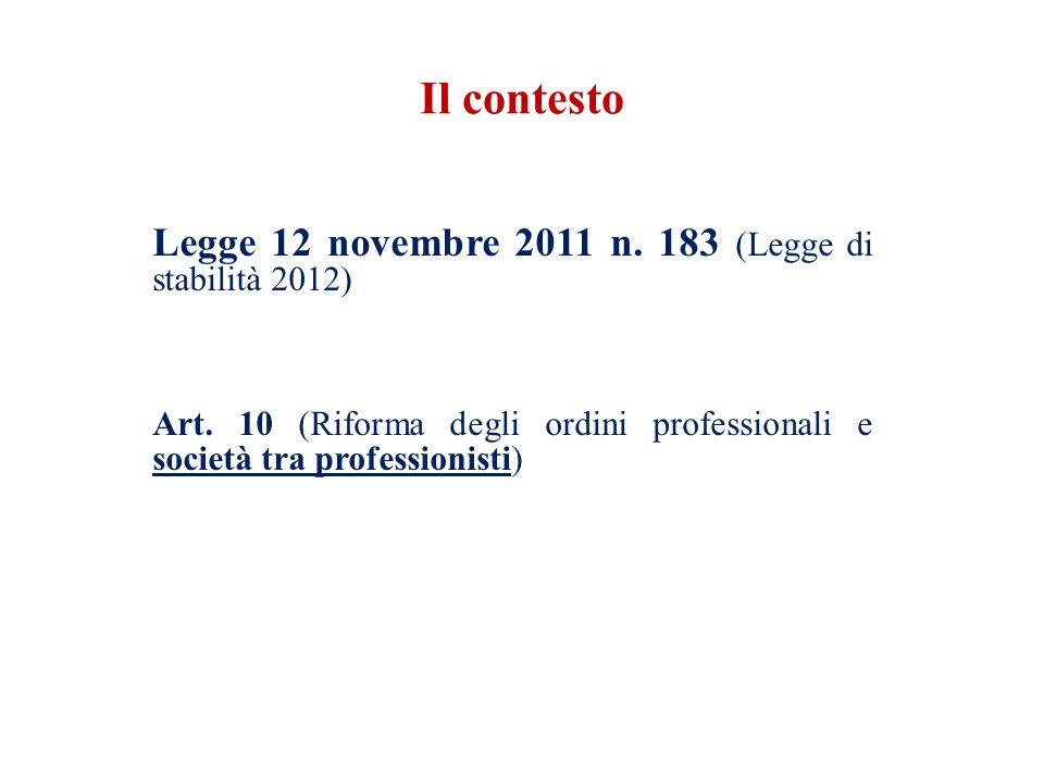 Il contesto Legge 12 novembre 2011 n. 183 (Legge di stabilità 2012) Art.