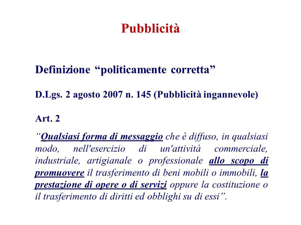Pubblicità Definizione politicamente corretta