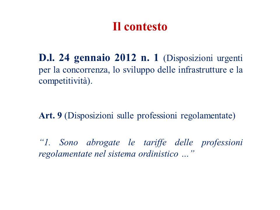 Il contesto D.l. 24 gennaio 2012 n. 1 (Disposizioni urgenti per la concorrenza, lo sviluppo delle infrastrutture e la competitività).