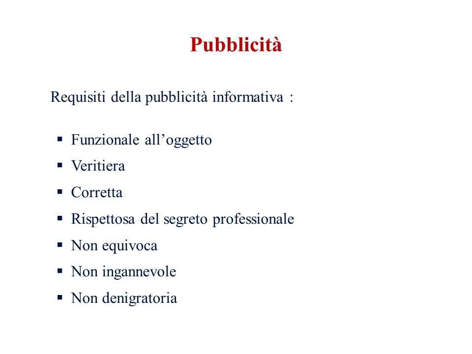 Pubblicità Requisiti della pubblicità informativa :
