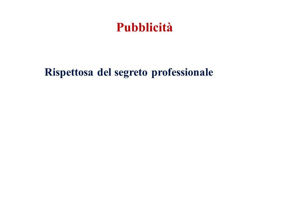 Pubblicità Rispettosa del segreto professionale