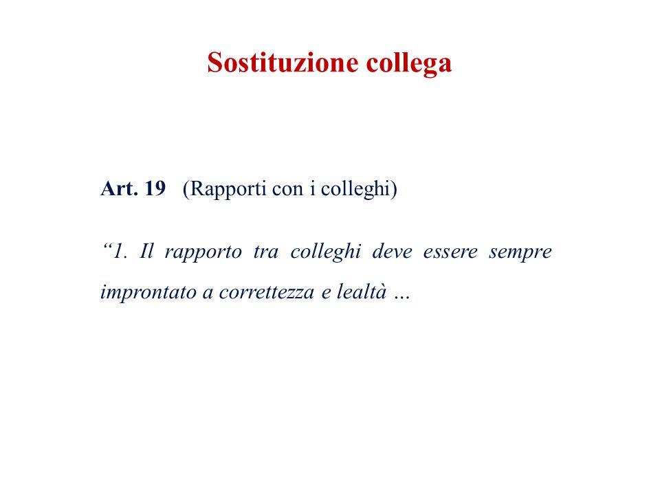 Sostituzione collega Art. 19 (Rapporti con i colleghi) 1.