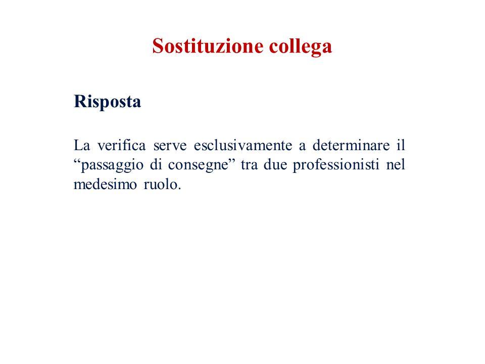 Sostituzione collega Risposta La verifica serve esclusivamente a determinare il passaggio di consegne tra due professionisti nel medesimo ruolo.