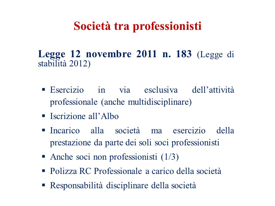 Società tra professionisti