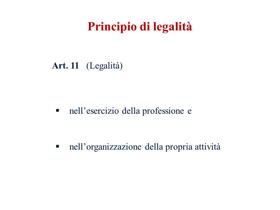 Principio di legalità Art. 11 (Legalità)