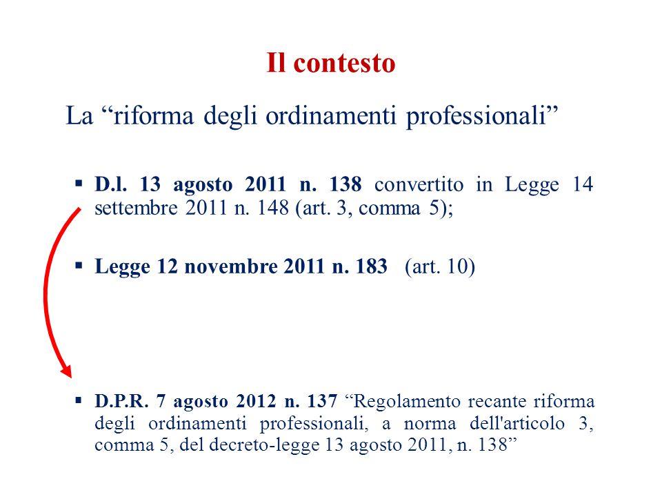 Il contesto La riforma degli ordinamenti professionali