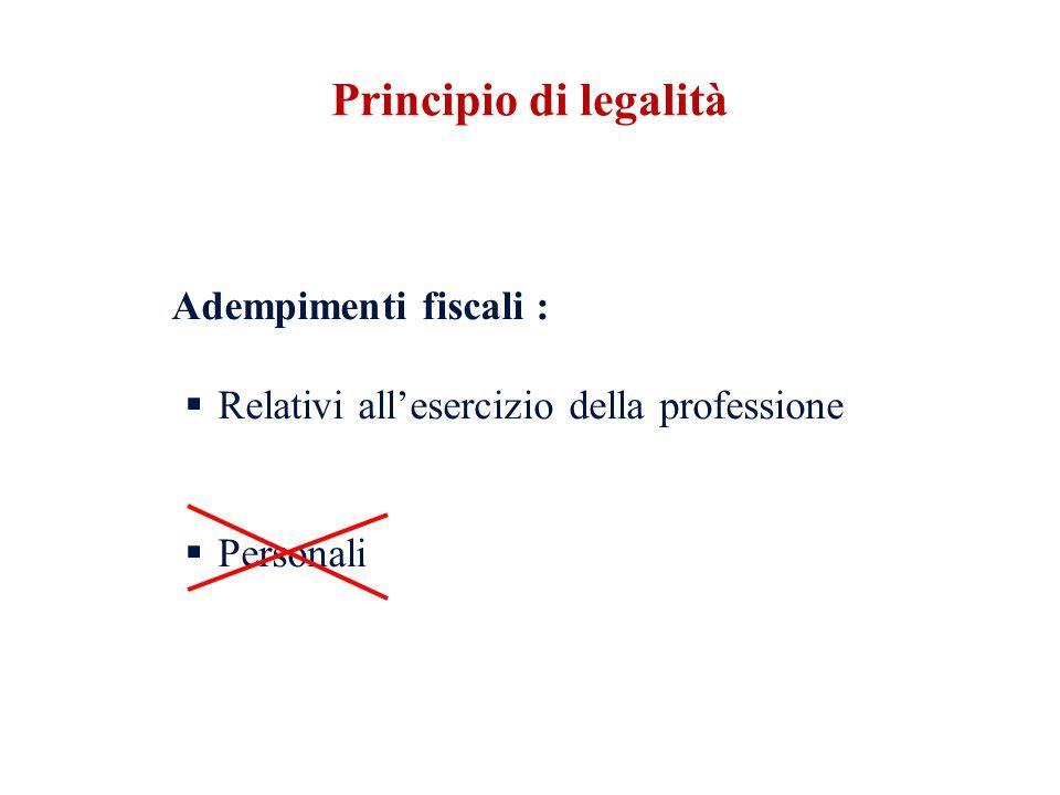 Principio di legalità Relativi all'esercizio della professione