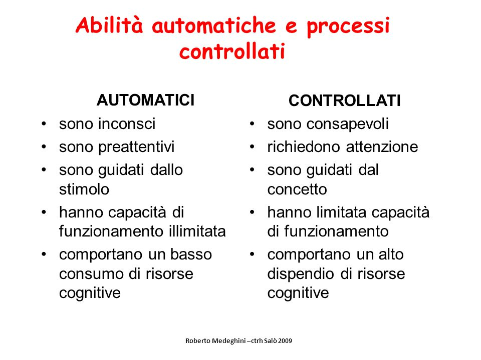 Abilità automatiche e processi controllati