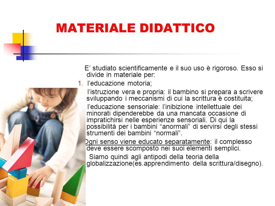 MATERIALE DIDATTICO E' studiato scientificamente e il suo uso è rigoroso. Esso si divide in materiale per: