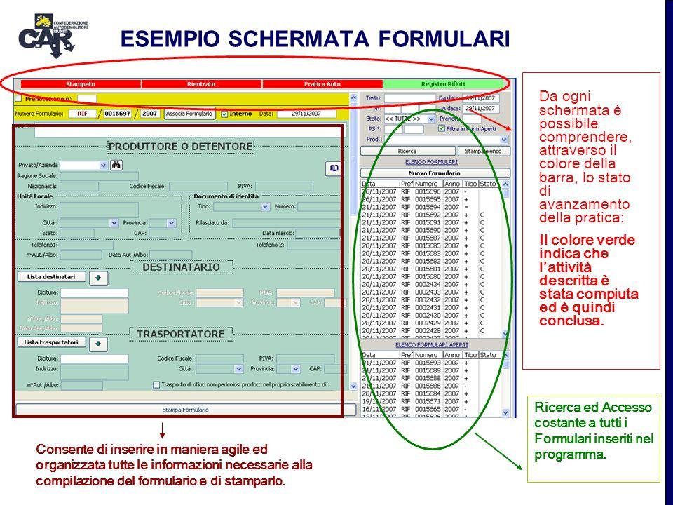 ESEMPIO SCHERMATA FORMULARI