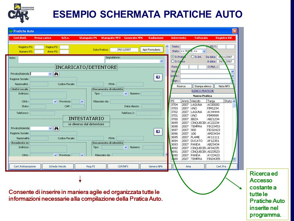 ESEMPIO SCHERMATA PRATICHE AUTO