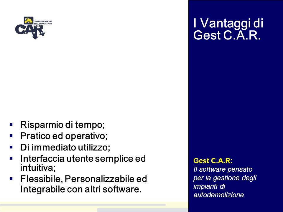 I Vantaggi di Gest C.A.R. Risparmio di tempo; Pratico ed operativo;