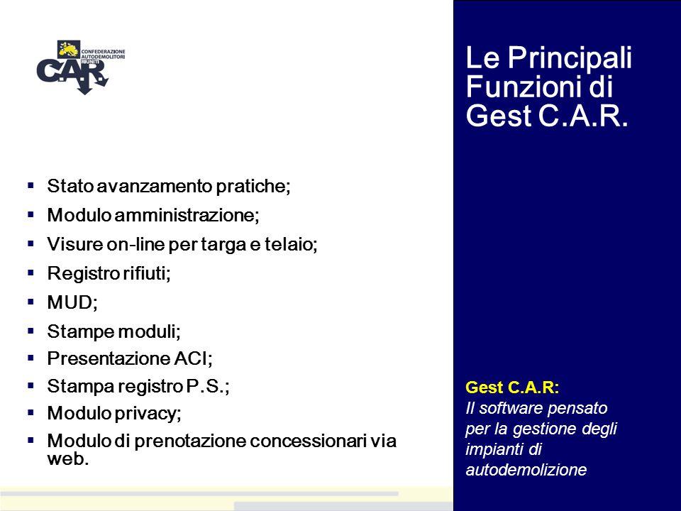 Le Principali Funzioni di Gest C.A.R.