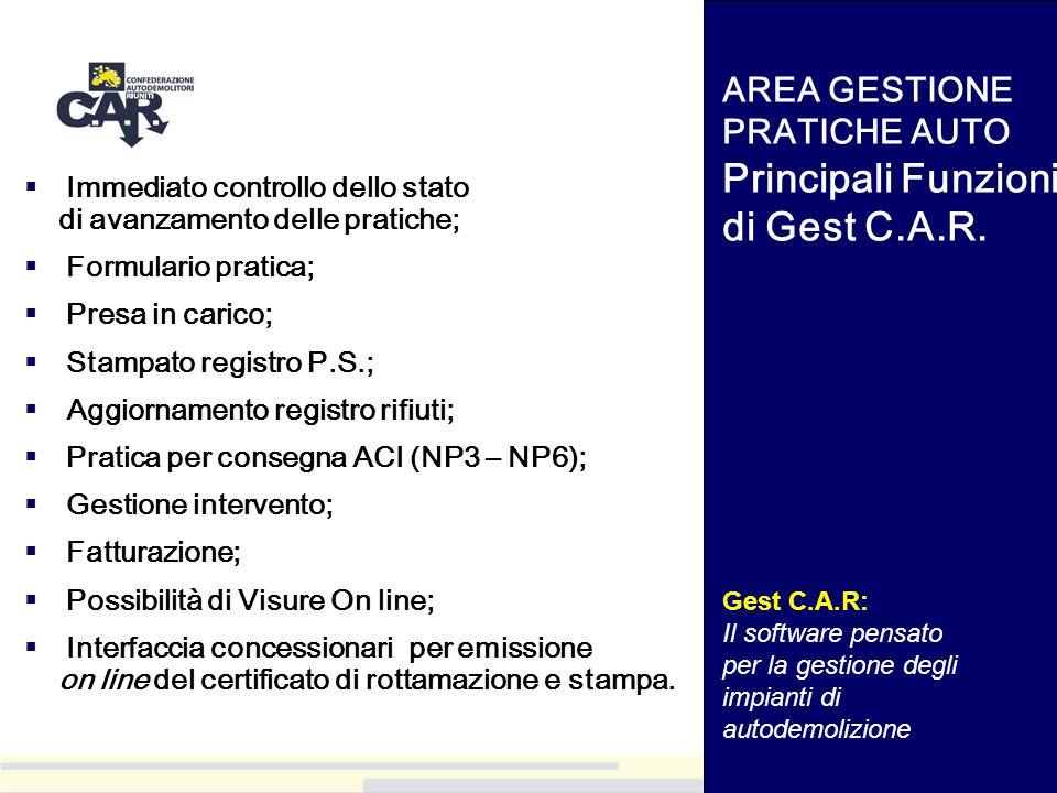 AREA GESTIONE PRATICHE AUTO Principali Funzioni di Gest C.A.R.