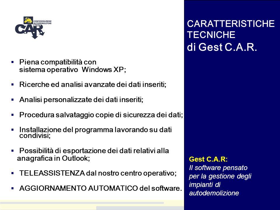 CARATTERISTICHE TECNICHE di Gest C.A.R.