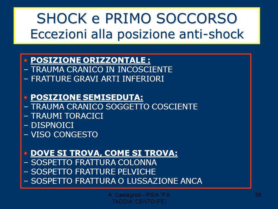 SHOCK e PRIMO SOCCORSO Eccezioni alla posizione anti-shock