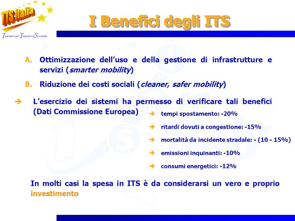 I Benefici degli ITS Ottimizzazione dell'uso e della gestione di infrastrutture e servizi (smarter mobility)
