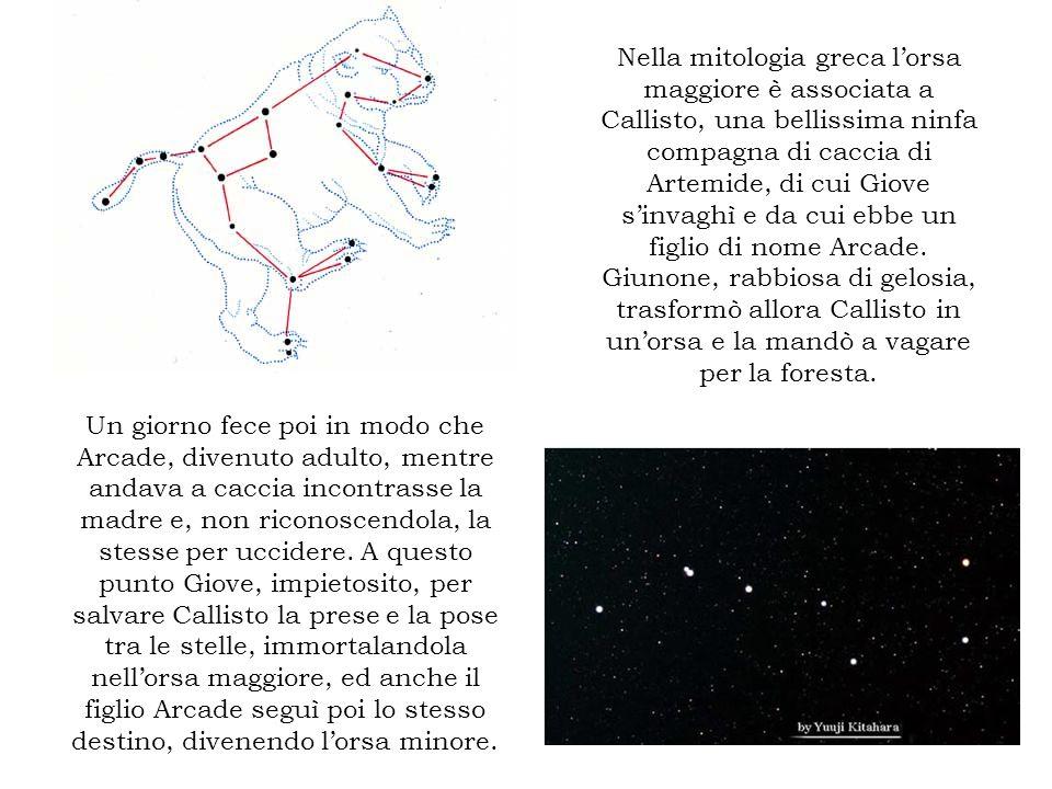 Nella mitologia greca l'orsa maggiore è associata a Callisto, una bellissima ninfa compagna di caccia di Artemide, di cui Giove s'invaghì e da cui ebbe un figlio di nome Arcade. Giunone, rabbiosa di gelosia, trasformò allora Callisto in un'orsa e la mandò a vagare per la foresta.