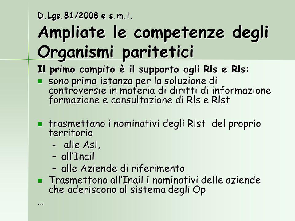 Il primo compito è il supporto agli Rls e Rls: