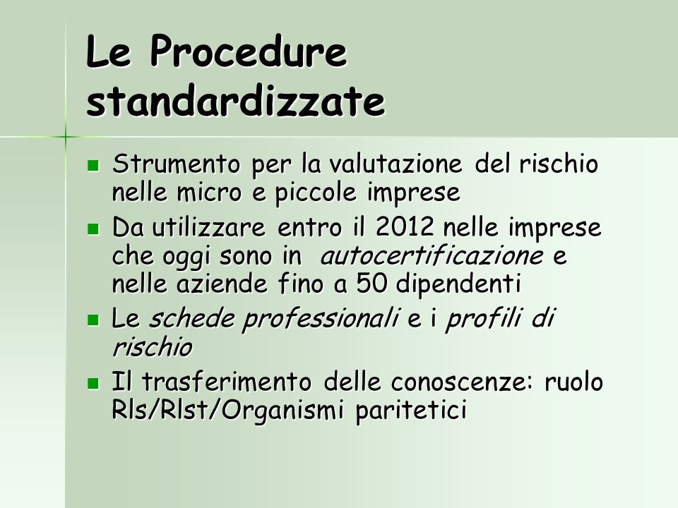 Le Procedure standardizzate