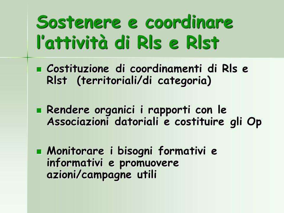 Sostenere e coordinare l'attività di Rls e Rlst