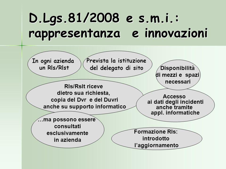 D.Lgs.81/2008 e s.m.i.: rappresentanza e innovazioni