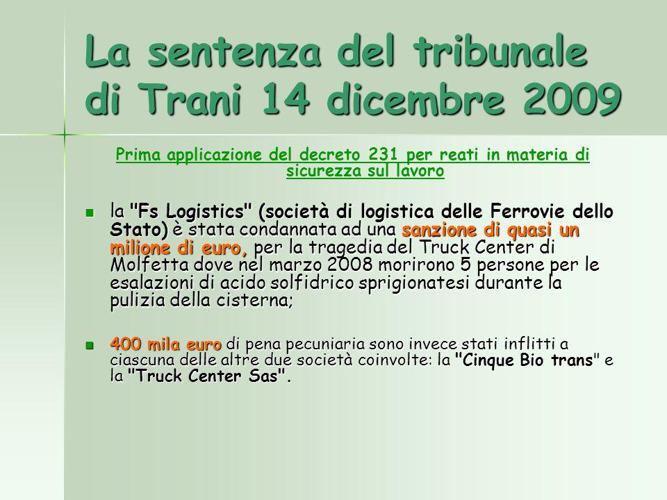 La sentenza del tribunale di Trani 14 dicembre 2009