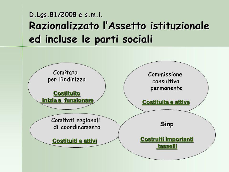 D.Lgs.81/2008 e s.m.i. Razionalizzato l'Assetto istituzionale ed incluse le parti sociali