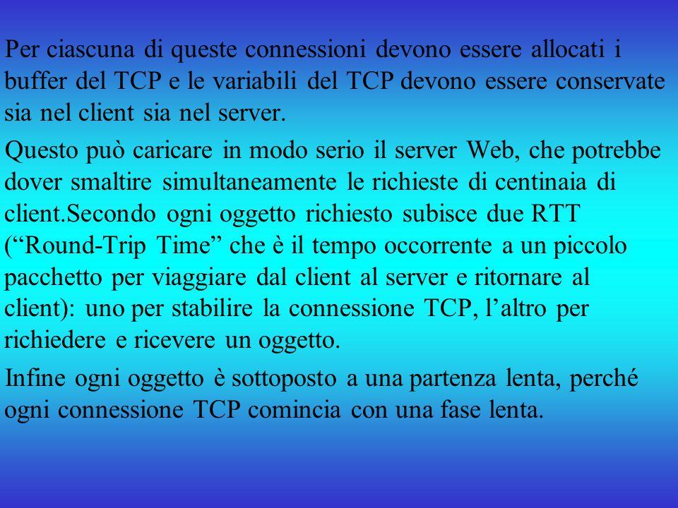 Per ciascuna di queste connessioni devono essere allocati i buffer del TCP e le variabili del TCP devono essere conservate sia nel client sia nel server.