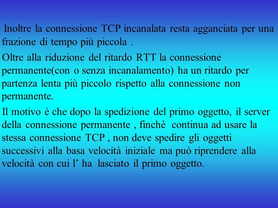 Inoltre la connessione TCP incanalata resta agganciata per una frazione di tempo più piccola .