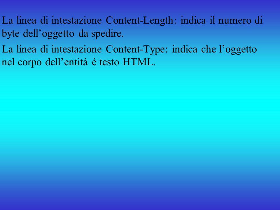 La linea di intestazione Content-Length: indica il numero di byte dell'oggetto da spedire.
