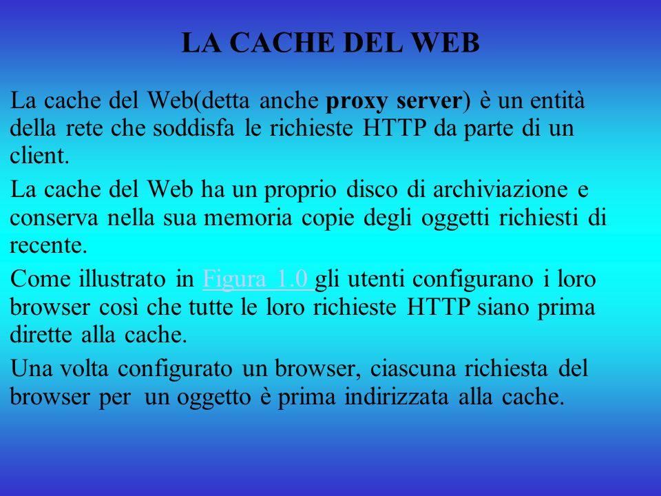 LA CACHE DEL WEB La cache del Web(detta anche proxy server) è un entità della rete che soddisfa le richieste HTTP da parte di un client.