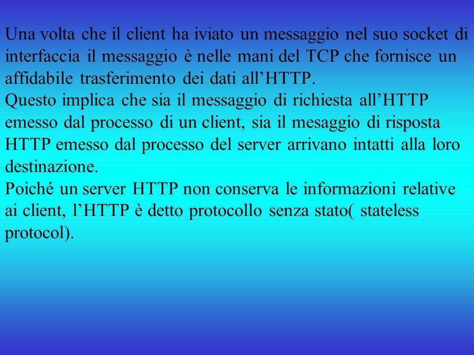 Una volta che il client ha iviato un messaggio nel suo socket di interfaccia il messaggio è nelle mani del TCP che fornisce un affidabile trasferimento dei dati all'HTTP.
